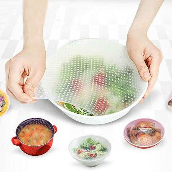 Hot Vacuum Silicone Food Fresh Storage Wrap Clear Magic Seal Cover Multifunctional Stretch Cling Food Film(China (Mainland))