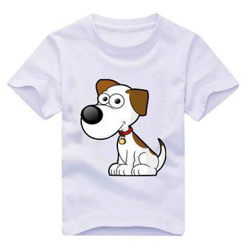Новые дети майка мультфильм собака печать мальчик девочка футболка 2015 лето забавный хлопок Whtie детей унисекс топ тройники TZ205-911