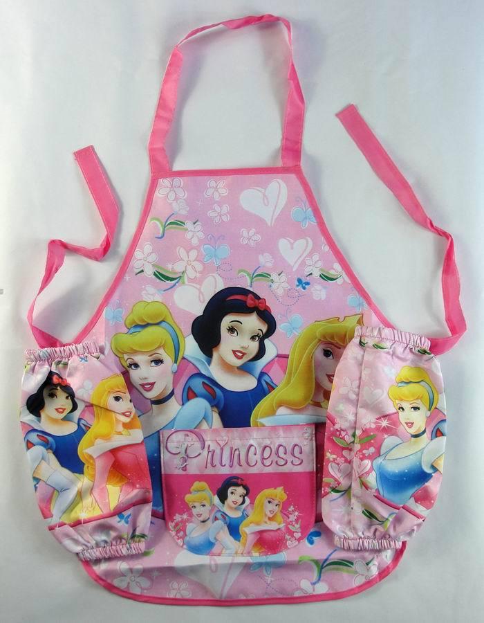 1set Children Princess Aprons Set/Girls Cartoon Painting Washing Pinafore Sleeved Apron/Kitchen Cooking tools(China (Mainland))