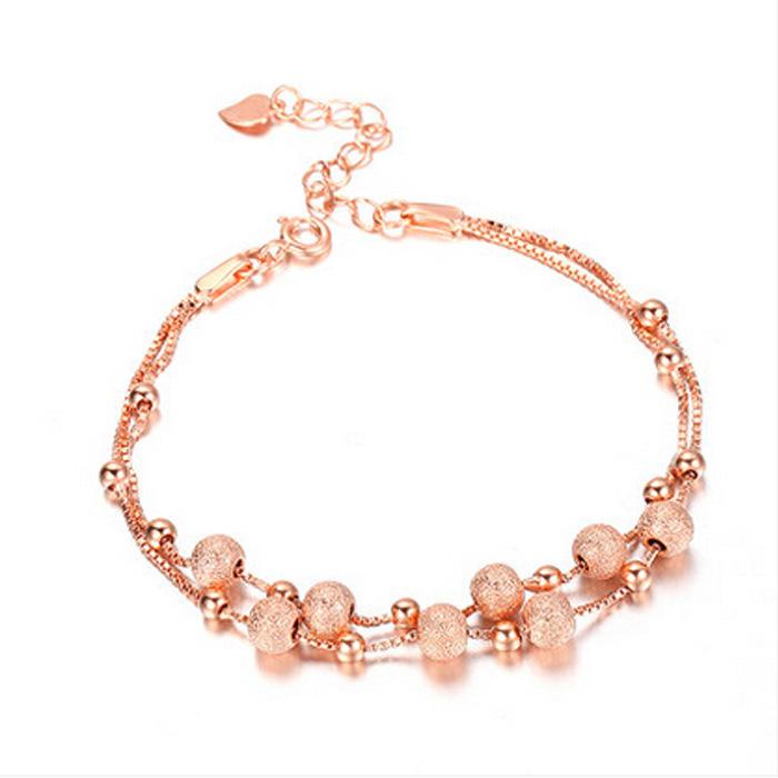 925 Sterling Silver Bracelet Female Multilayer Ground Rose Gold Pearl Bracelet Jewelry Transport(China (Mainland))