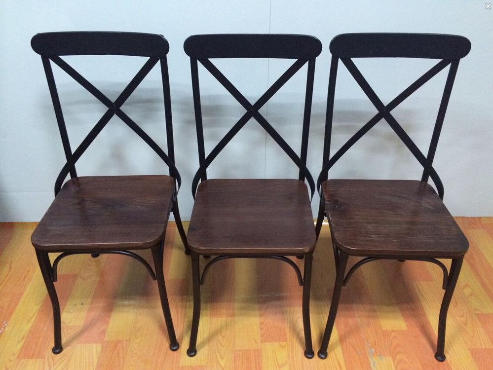 Bao americanos retro cadeiras de jantar feita de madeira maciça ferro forjado cadeira de jantar de madeira cadeira de encosto cruz criativo(China (Mainland))