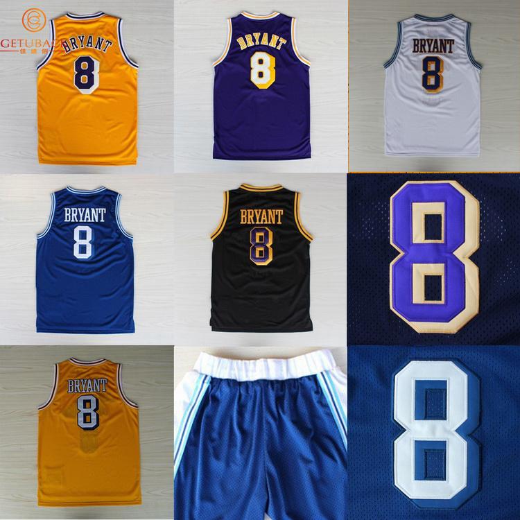 Los Angeles Kobe Bryant #8 throwback basketball jersey & Shorts Embroidery Logos jerseys Top Quality Retro shirts & dress NA113(China (Mainland))