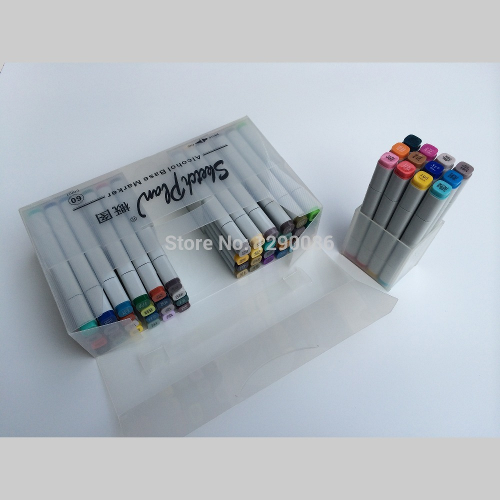 NEW 60colored standard colors permanent sketch Marker pen copic marker with standard plastic box(China (Mainland))