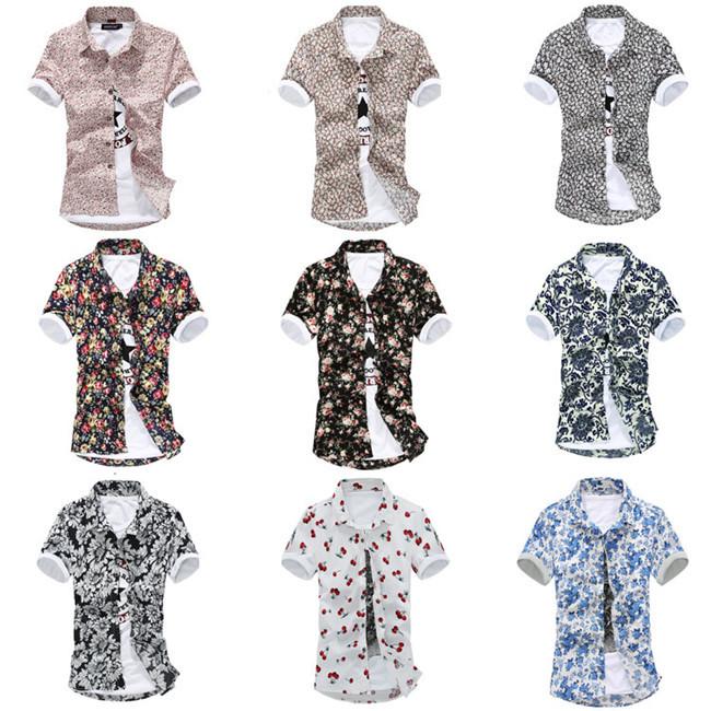 2015 Summer Mens Hawaiian Shirts Camisas Floral Print Paisley Flower Fruit Plus Size 3XL Beach Hawaii Casual Shirt For Men AY786(China (Mainland))