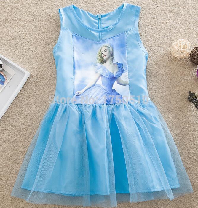 2015 Girls Cinderella Dress Brand Children Kids Cute Character Princess Dresses Kids cartoon Clothes vestidos(China (Mainland))