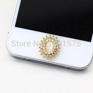 Lace diamond ring sticker for iphone 4/4s/5s/5/6 plus home button sticker phone stickers 1EP206(China (Mainland))