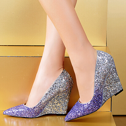 Glitter Wedge Wedding Shoes Wedge Heel Wedding Shoes