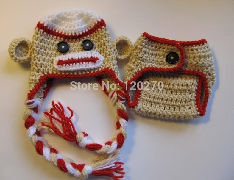 Free Shipping Crochet Sock Monkey Beanie Knitted Hat +  Diaper Cover