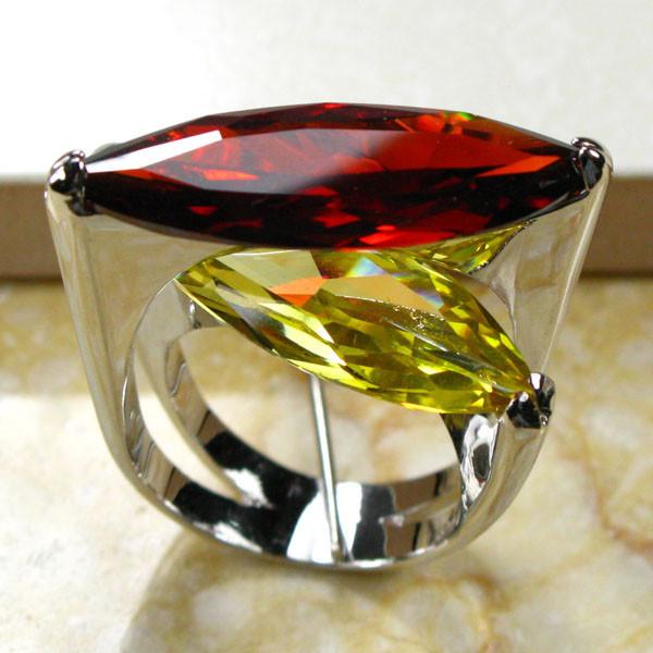 Huge Garnet Citrine 925 Sterling Silver Ring Size 6 7 8 9 10 R95(China (Mainland))