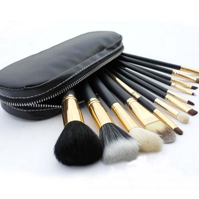 professional pincel maquiagem makeup brushes kit cosmetic tool 12pcs goat hair wood brush eyeliner powder kabuki brush fiber(China (Mainland))