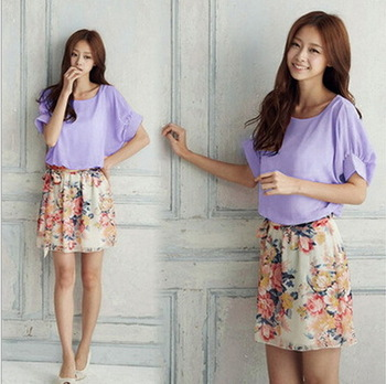 Горячая распродажа! кореянка шифон лето широкий платья с повязку большой размер рукава летучая мышь цветочные шею мягкая легкие платье
