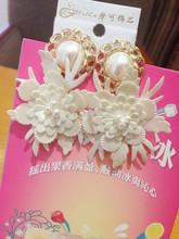 handmade  Pearl Pu leather Flower drop earring baroque earrings female jewelry hot sell(China (Mainland))