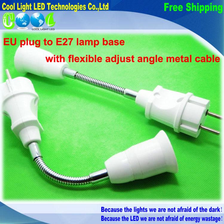 EU Plug AC Power Lamp base to Screw E27 LED Lighting Bulb Socket converter Flexible extended Holder(China (Mainland))