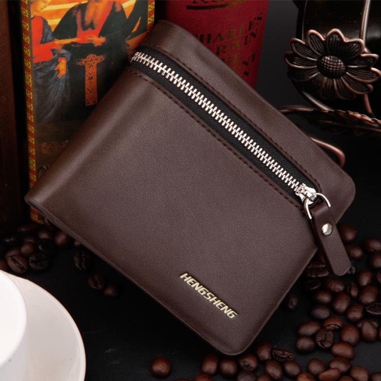 2015 New Fashion Brand Men S Wallet Pu Leather Cow Leather Multifunctional Men Black Billfold Zipper