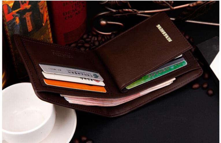 2015 New Fashion Brand Men S Wallet Pu Leather Cow Leather Multifunctional Men Black Billfold Zipper