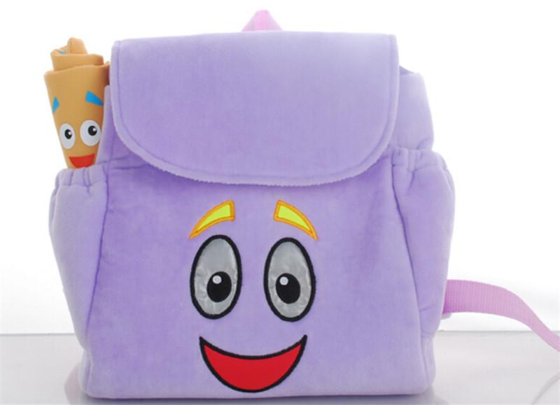 50 pçs/lote dos desenhos animados mochilas dora Plush com mapa saco de escola das crianças(China (Mainland))