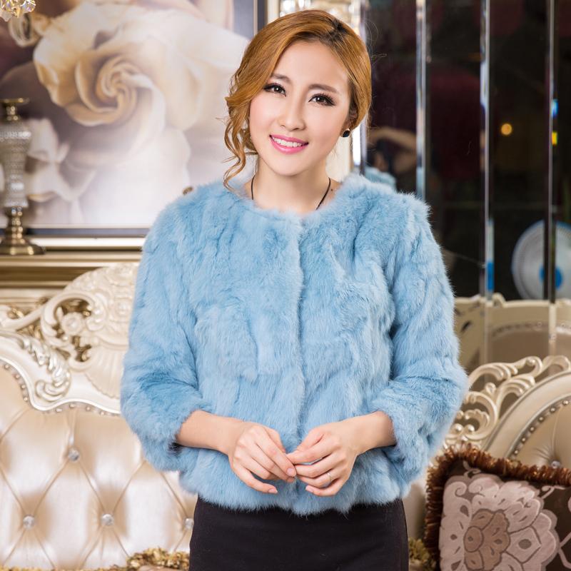 2015 female genuine Fur coat slim short design o-neck rex rabbit hair fur coat women's short fur jacket(China (Mainland))