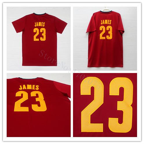 New Arrival Basketball Tshirts 23 Lebron James jersey Short Sleeve Cleveland RED Lebron James Jerseys(China (Mainland))