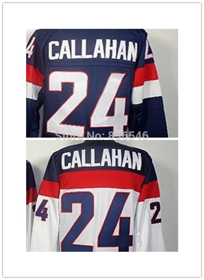 Wholesale 2010 USA #24 Ryan Callahan White Jersey Ice Hockey Stitched Jersey Authentic Free Shipping(China (Mainland))