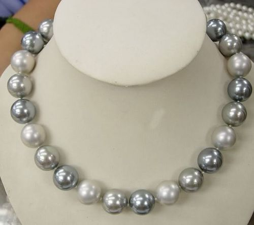 "Free shopping! Wholesale! 2015 Fashion girl! AAA 12MM Elegant white black Gray Shell Pearl Necklace 18"" L2122(China (Mainland))"