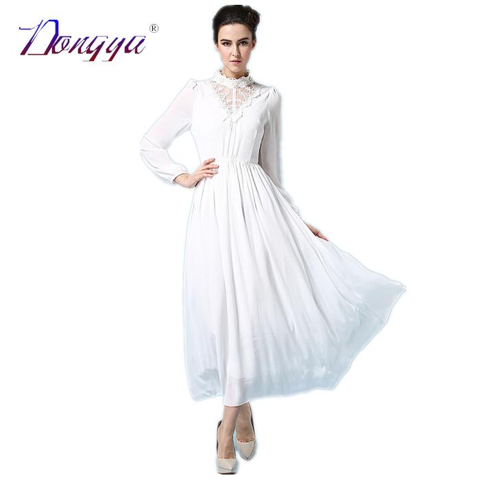 Formal Dresses Fashion Chiffon Spring Ankle-length Color Lace Vintage 2015 White Women Long Sleeve Maxi Dress Vestido Feminino(China (Mainland))