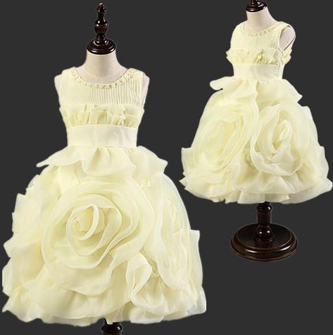 Free Shipping 3D rose Flower princess elegent girls dresses summer kids children wedding birthday party evening white girl dress(China (Mainland))