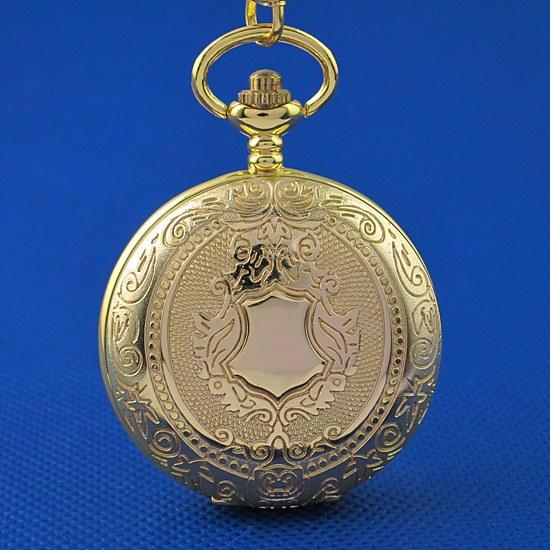Free Shipping Vintage Luxury Gold Case Men's Skeleton Analog Windup Mechanical Pocket Watch Relogio Masculino Fashion Gift(China (Mainland))