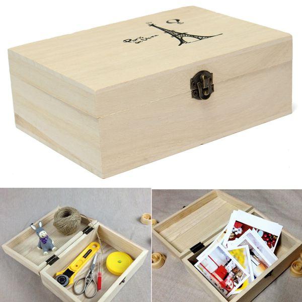 New Fashion Postcard Storage Box Natural Wooden With Lid Golden Lock Handmade Craft Jewelry Case Wedding Gift(China (Mainland))