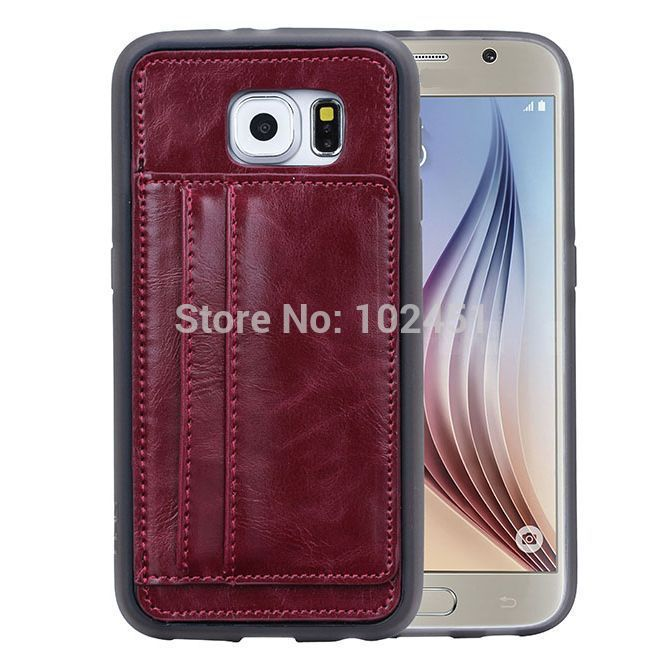 Crazy Horse Wallet Stand Leather Case Cover Built-in ID Credit Card Carrying Holders for Samsung Galaxy S6 Edge S6Edge SGS6C41(China (Mainland))