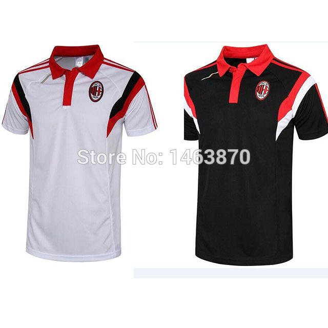 14 15 AC Milan Training Jersey Soccer Top 2015 AC Milan POLO Shirts 14/15 Black / White AC Milan Training T Shirts(China (Mainland))