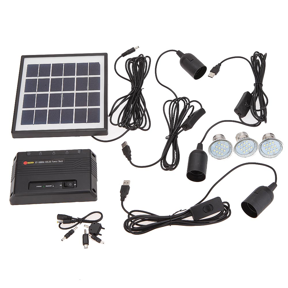 Camping Fishing Pathway Ourdoor Light 3 LED Lamp USB 5V Cell Mobile Phone Charger Home System Kit with 4W Solar Powered Panel(China (Mainland))
