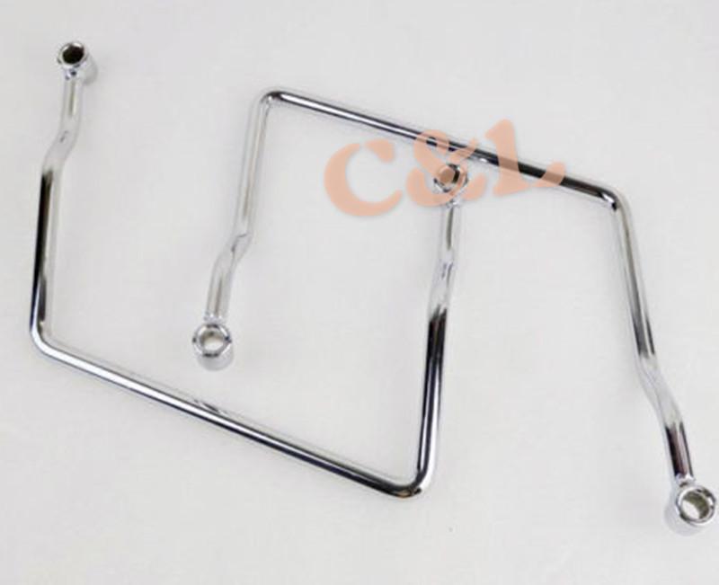 Motocycle Chrome Steel Saddle Bag Support Bar Mounts Bracket Fit For Yamaha V Star XVS 1100(China (Mainland))