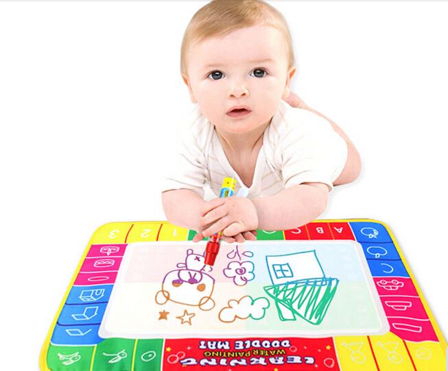 Free shipping 29X19cm 4 color Mini Water Drawing Mat Aquadoodle Mat&1 Magic Pen/Water Drawing board/baby play mat(China (Mainland))