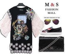 Melinda Style 2015 new summer casual dress fashion  organza sleeves animal printing beading decorated vestidos free shipping(China (Mainland))