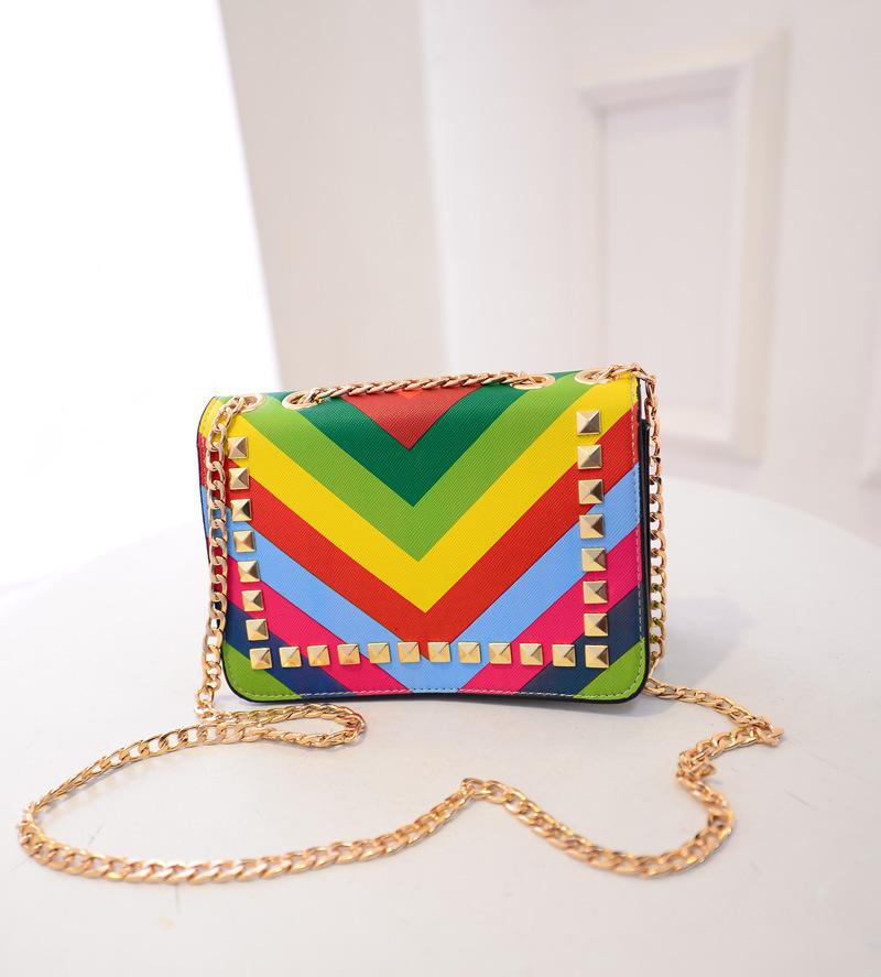2015 New Fashion rainbow color Rivet women's bag Small Shoulder Bag style brand design chain Messenger Bag summber bag(China (Mainland))