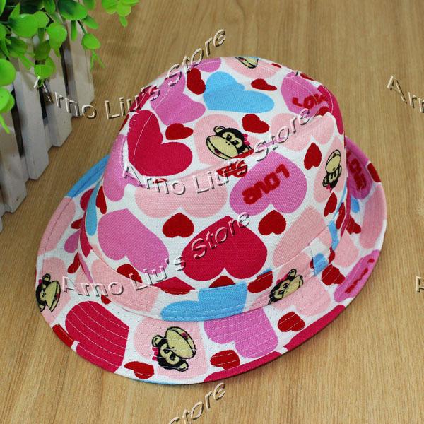 Baby Heart-shaped&Monkey Pattern Fedora Hat Children Girl's Spring & Summer Jazz Cap Kids Fedoras Free Shipping (10pcs/lot)(China (Mainland))