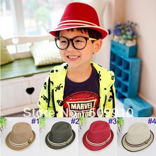 Children's Fedora Hats & Caps Baby Top Hat Kids Spring/Autumn Jazz Cap Cowboy Hat Fedoras 10pcs/lot Free Shipping(China (Mainland))