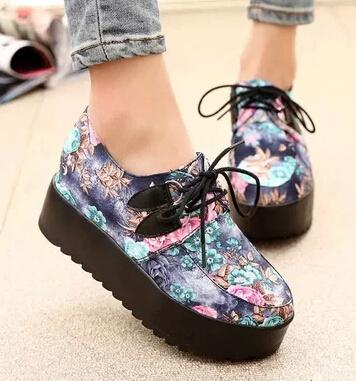 2015 fashion british style vintage single shoes Harajuku platform shoes women's fashion creepers shoes ladies sneakers(China (Mainland))