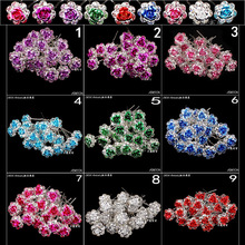 Wholesale 20pcs Lot Clear Crystal Rhinestone Rose Flower  Hair Pin Clips Women Wedding Bridal Hair Jewelry Free Shipping