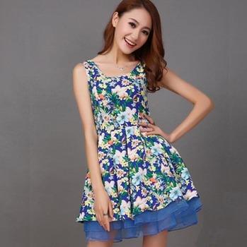 Женщины летнее платье 2015 стиль европа благородный сладкий круглым воротом без рукавов печатных развивать нравственность женщина платья