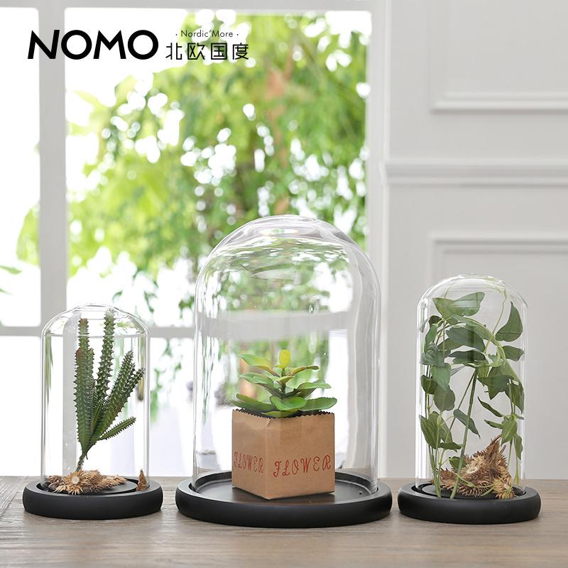 NOMO new modern minimalist living room home furnishing accessories creative black tie plants transparent glass base(China (Mainland))