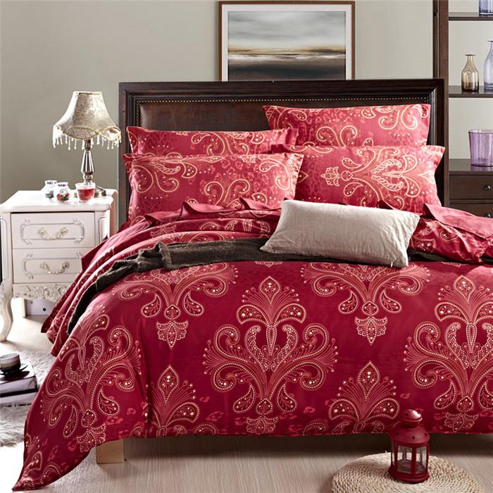 pas cher luxe ensemble de literie housse de couette reine ensemble de linge de lit rouge floral. Black Bedroom Furniture Sets. Home Design Ideas