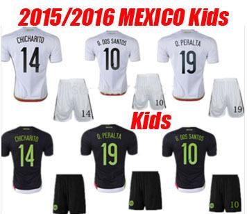 2016 Kids Mexico Home G.DOS SANTOS Soccer Jerseys Uniforms 15 16 Mexica Children CHICHARITO Boys Youth Futbol Shirt 2015 Camisas(China (Mainland))