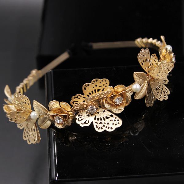Baroque Vintage Gold Metal Butterfly headband Fashion pearl Gem Crystal headband hair accessories, Free shopping(China (Mainland))