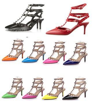 Hot!2014 Fashion rivet shoes high-heeled shoes thin heels sandals shoes rivet valentin female sandals original packing box(China (Mainland))