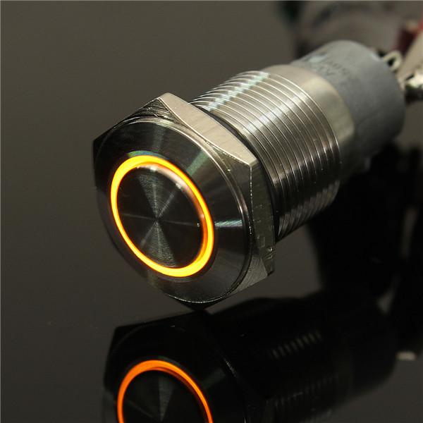 Angel Eye Metal LED illuminated Momentary 16mm Push Button Switch Car Dash 12V