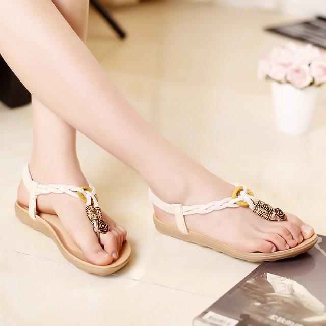 Boho frisado estilos de verão sandálias sapatos dedo do pé das mulheres moda casual sapatos de onda feminina(China (Mainland))