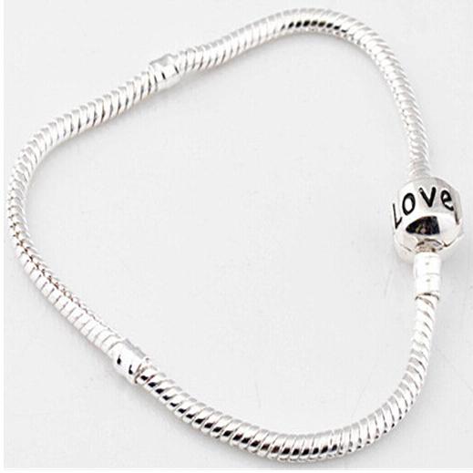 16cm 18cm 20cm 22cm 925 Silver Fit Pandora Bracelet Snake Chain Love Bracelets Jewelry Women Girl Pulseras New Brand 2015(China (Mainland))