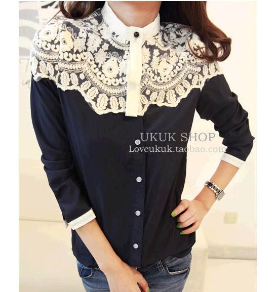 Plus Size promoção de algodão mulheres blusas na primavera de 2015 novo temperamento das mulheres um tipo de camisa de renda costura Chiffon(China (Mainland))