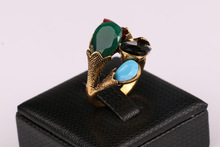 2015 Fashion Jewelry For Women Red Green Four Color Combinations Turquoise 18K Gold Charm Vintage Rings